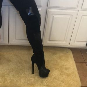 3e344ef8497 London Trash thigh high suede and snakeskin boots